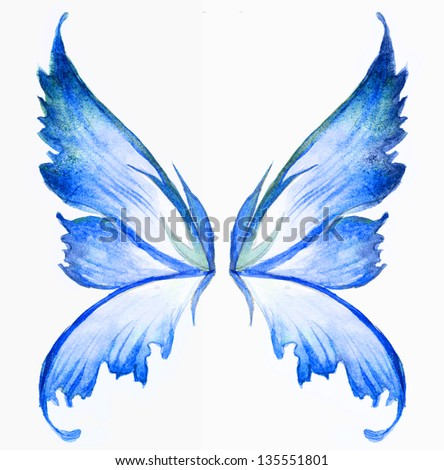 blue fairy wings watercolor hand draw painting - stock photo