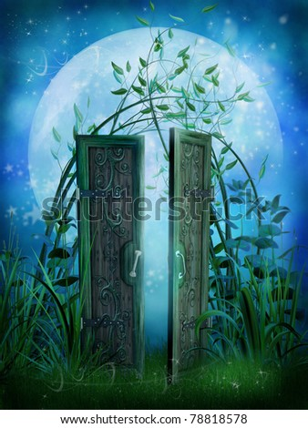 Blue fairytale scenery with enchanted door & Enchanted Garden Stock Images Royalty-Free Images \u0026 Vectors ... Pezcame.Com