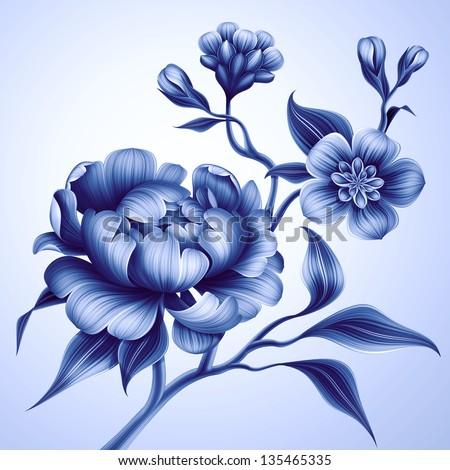 blue fantasy creative branch with peony rose and sakura flowers - stock photo