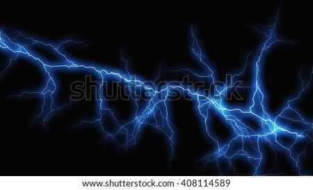 Blue fantasy lightning sparks on a black background - stock photo