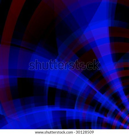 Blue fantasy rays on black background - stock photo