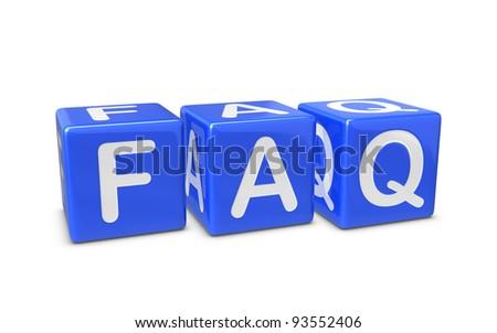 Blue FAQ boxes - stock photo