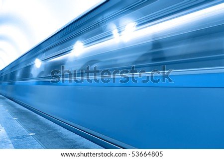 blue fast train with blur line of business passage