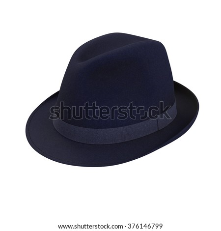 Blue fedora hat isolated on a white background
