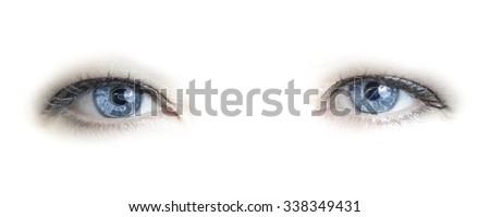 Blue female eyes on white - stock photo