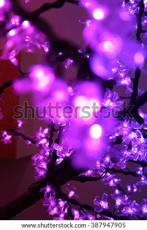 Blue Festive Christmas elegant abstract background with bokeh lights and stars - stock photo