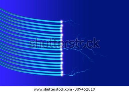 Blue fiber optic cables with thunderbolt and light abstract on blue background, future network technology concept - stock photo
