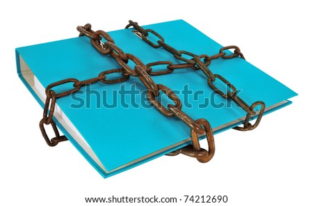 Blue file folder protected with chain, isolated on white. - stock photo