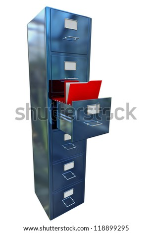 blue filing cabinet for documents with important information - stock photo
