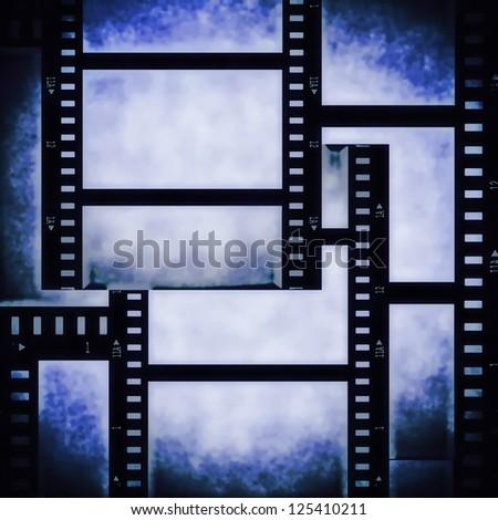 blue film strip background, texture - stock photo