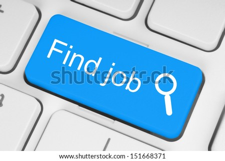 Blue find job button on white keyboard  - stock photo