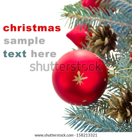 blue fir tree and redd christmas ball border on white background