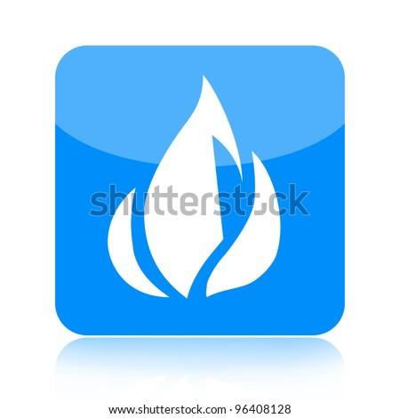 Blue fire icon - stock photo