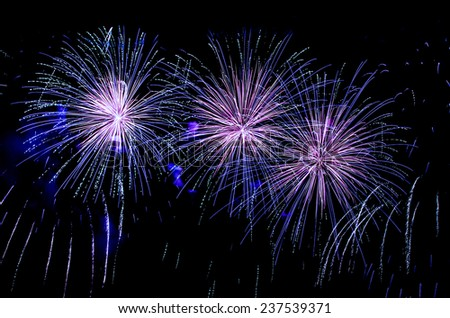 Blue fireworks display - stock photo