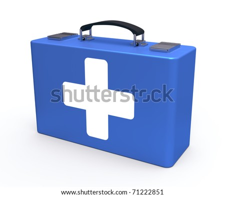 Blue first aid kit isolated on the white background