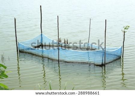 Blue Fishing Net - stock photo