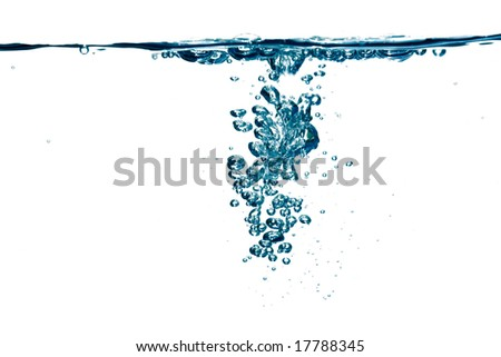 Blue fizzy water  with bubbles, over white, shallow DOF