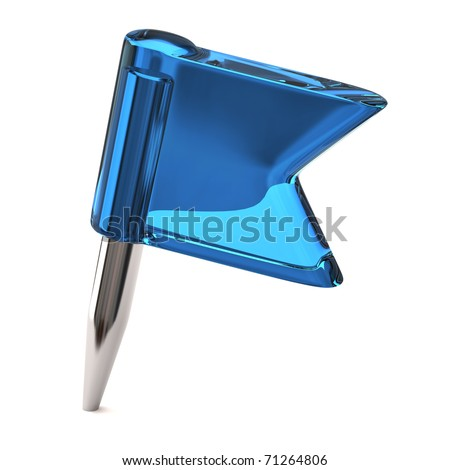 Blue flag pin on a white background - stock photo