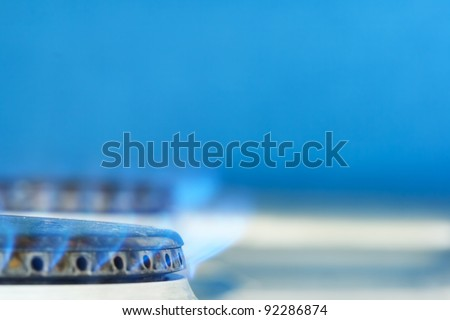 Blue flame of gas - stock photo