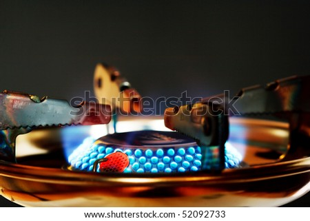 Blue flame of gas burner - stock photo