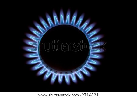 blue flame of gas on black - stock photo