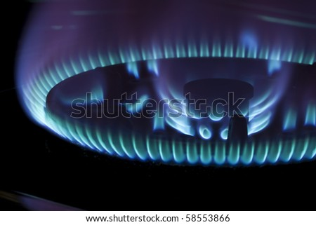 Blue flame of gas on black background - stock photo