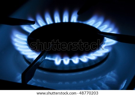 Blue flame of the gas cooker