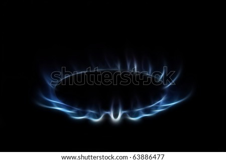 Blue Flames A fractal filtered image of a natural gas burner. Horizontal. - stock photo