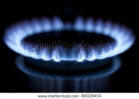 Blue flames from gas burner (high resolution) - stock photo