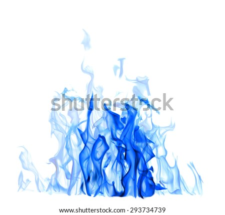 blue flame isolated on white background stock photo