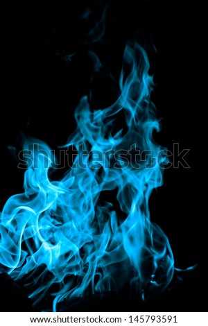 blue flames of fire as  abstract backgorund - stock photo