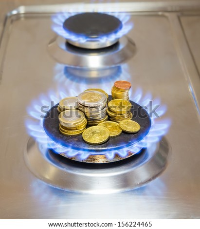 Blue flames of natural gas burning from a gas stove with euro coins - stock photo