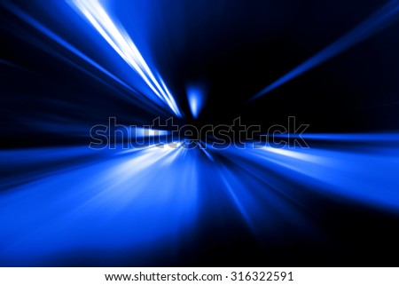 blue flash acceleration speed motion on night road - stock photo