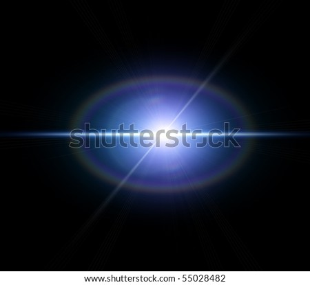 Blue flash with rays - stock photo
