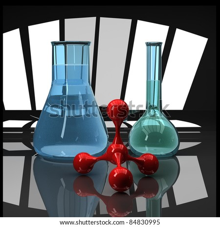 blue flasks and red molecule scientific composition - stock photo