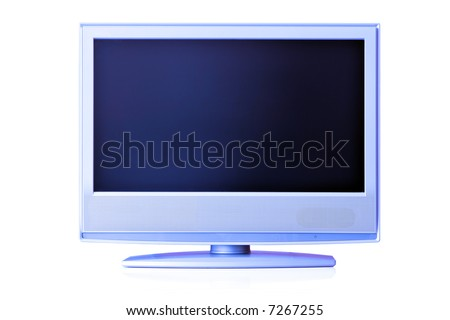 Blue flat LCD TV isolated over whte background with space for your own text or image over screen - stock photo