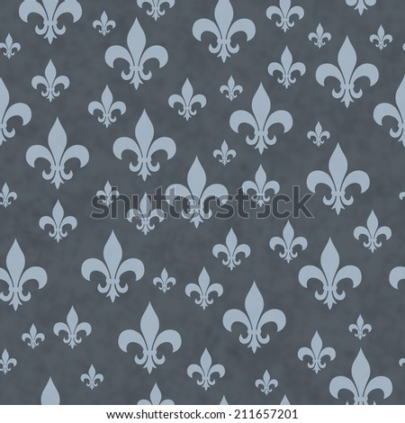Blue Fleur-de-lis Pattern Repeat Background that is seamless and repeats - stock photo