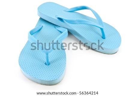 Blue flip flops - stock photo