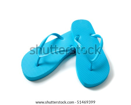 blue flip-flops on a white background - stock photo