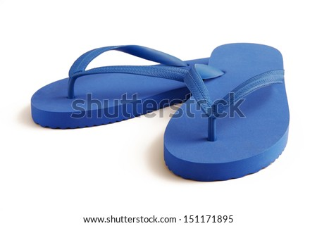 Blue flip flops with soft shadow - stock photo