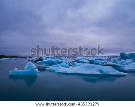 Blue floating icebergs in Iceland. Glacier lagoon.