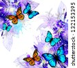 blue floral abstraction with butterflies. Raster - stock photo