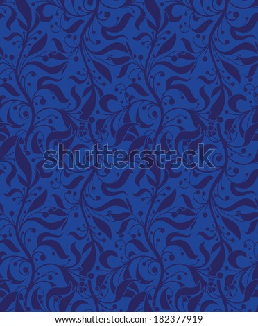 Blue floral seamless pattern for web, print, wallpaper, textile, wrapping paper, fabric or invitation background.