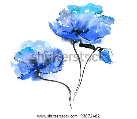 blue flower on white background - stock photo
