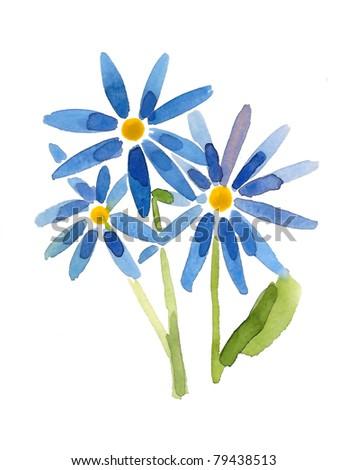 Blue flowers- handmade painting - stock photo