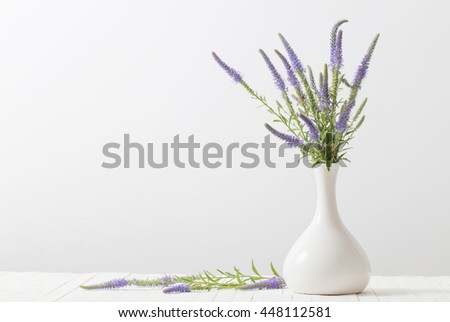 blue flowers in a vase on white background