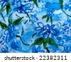 Blue flowers in watercolor, original painting - stock photo