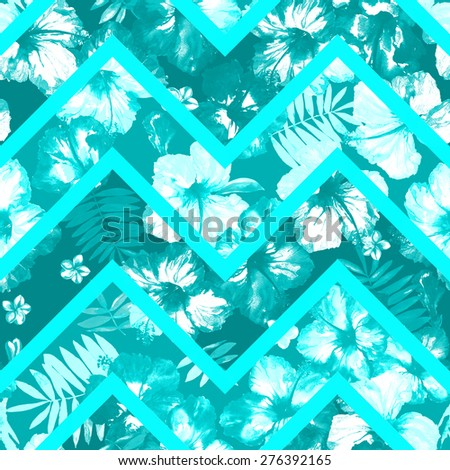 Blue flowers on a blue background stripes zigzag. Abstract floral seamless pattern - stock photo