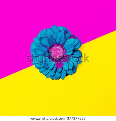 Blue Flowers on bright background. Minimalism Art Design - stock photo