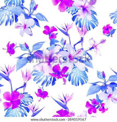 Blue Flowers Pattern Seamless Clip Art